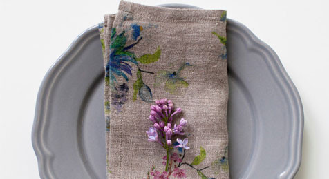 Linen Napkins Flowers on Natural Linen(pair)