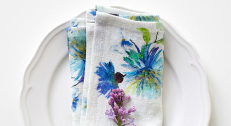 Napkins Flowers on White Linen (pair)