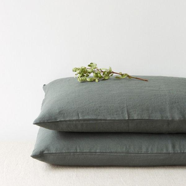 Linen Pillowcase Forest Green