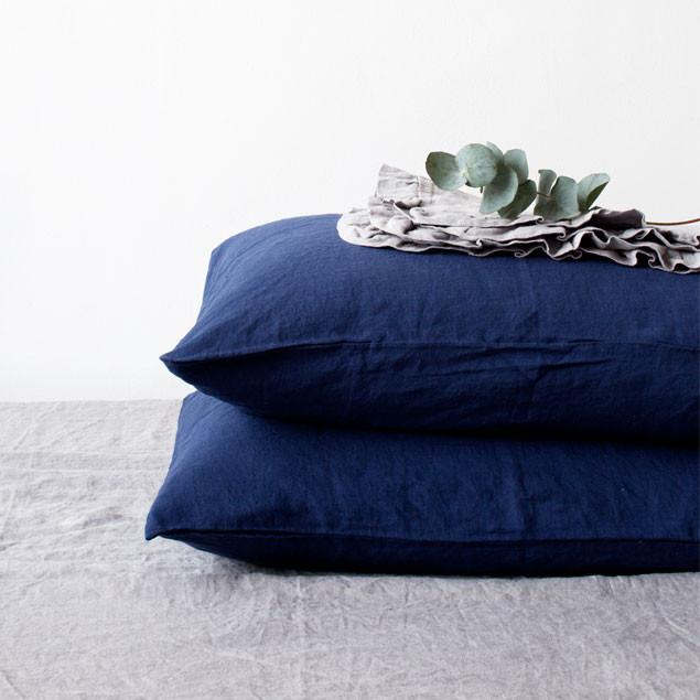 Linen Pillowcase Navy: Pure Linen Pillowcase Navy