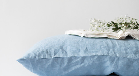 Sky Blue Linen Pillowcase