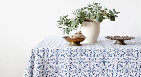 Blue Mosiac patterned Linen Tablecloth