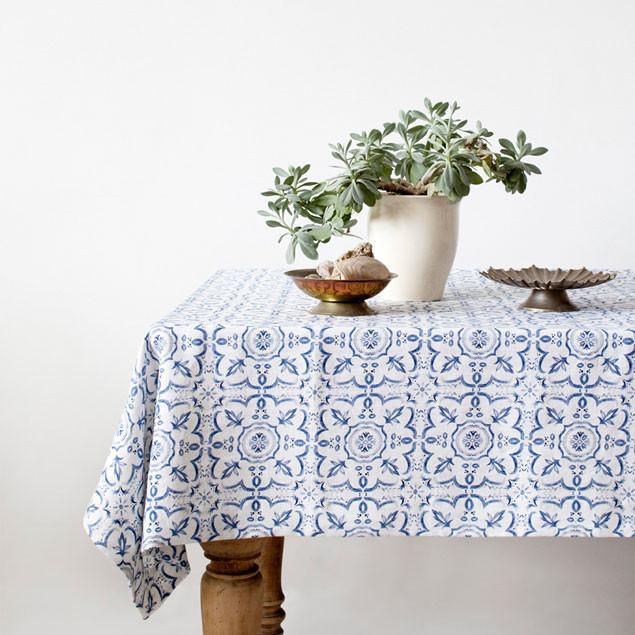 Blue Mosiac patterned Linen Tablecloth: Mosiac Linen Table Cloth