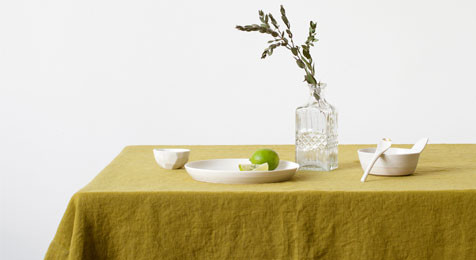 Moss Green Vintage Linen Tablecloth