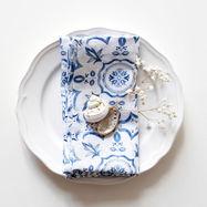 Linen Napkins Blue Mosiac