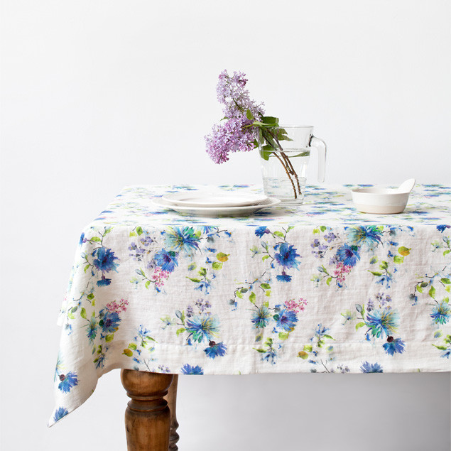Summer Flowers Washed White Linen tablecloth: Summer Flowers Washed White Linen tablecloth