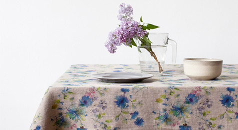 Summer Flowers on Natural Linen Tablecloth