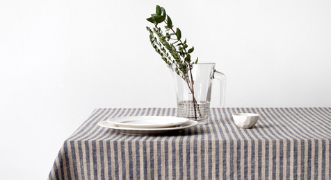 Linen Tablecloth Blue Stripes on Natural
