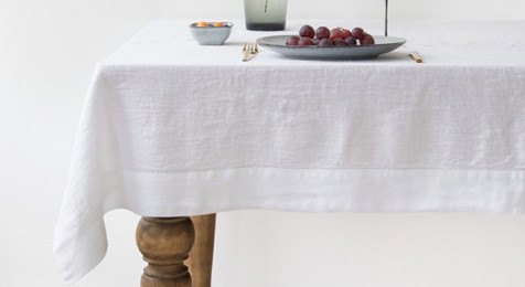 Brilliant White Vintage Linen Tablecloth Hemstitch