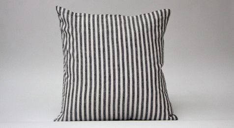 Black striped linen cushion