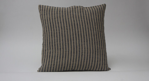 Linen Cushion Natural Blue Stripe