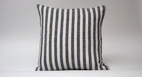 Linen Cushion Black Wide Stripes