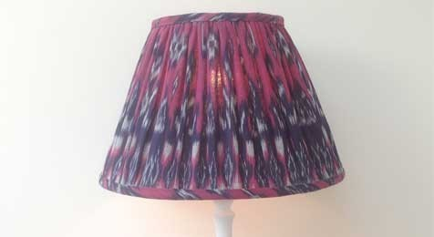Ikat Lampshade Magenta and Deep purple gathered straight empire