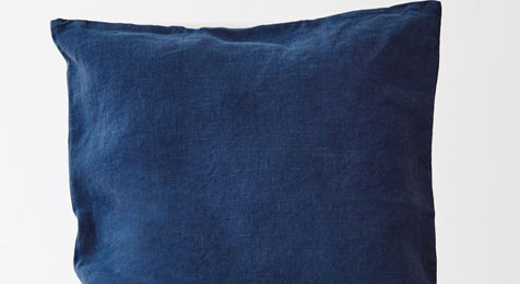 Navy colour linen cushion