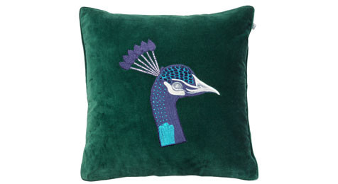 Peacock Embroidered Green Velvet cushion