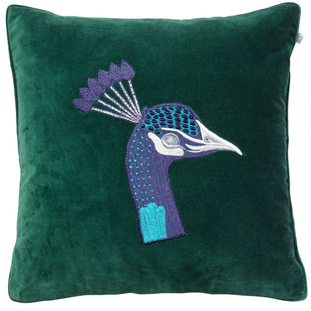 Peacock Embroidered Green Velvet cushion: Peacock Embroidered Green Velvet cushion chhatwal & Jonsson