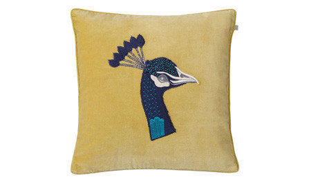 Peacock Embroidered Spicy Yellow Velvet cushion Chhatwal & Jonsson
