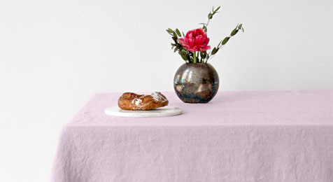 Pink Vintage Linen Tablecloth