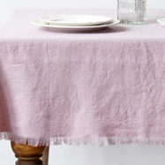 Pink Vintage Linen Tablecloth with fringes