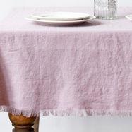 Pink Vintage Linen Tablecloth with fringes