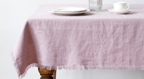Pink Lavender Vintage Linen Tablecloth with fringes: Pink Vintage Linen Tablecloth with fringes