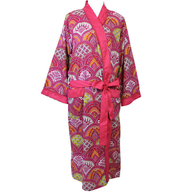 Dressing Gown Rasberry Paisley