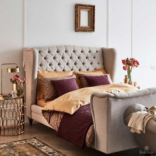 Zantine Gold & Plum duvet cover: Zantine Bedding Luxury Bed linen Bohzaar