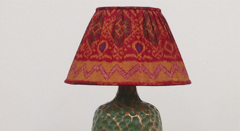 Red & Gold Gathered Ikat Lampshade with Base