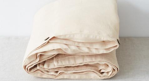 Linen Duvet Cover Sand & Pillowcase Set