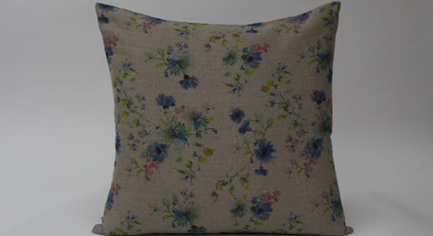 Summer Flowers on Natural Linen Cushion