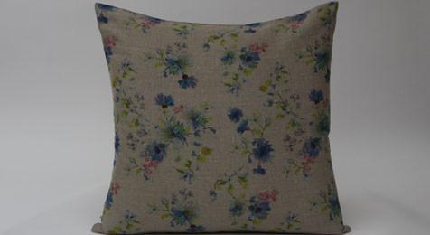 Summer Flowers on Natural Linen Cushion