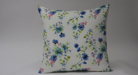 Summer Flowers Print on White Linen Cushion