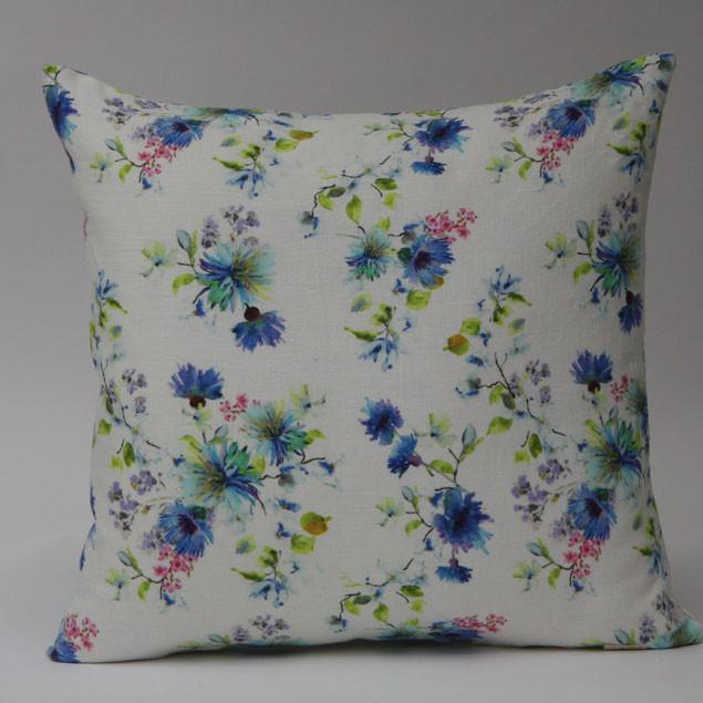 Summer Flowers Print on White Linen Cushion