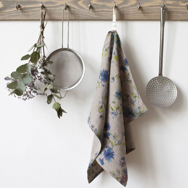 Summer Flowers Print on Natural Linen Towel: Tea towel Summer Flowers on Natural Linen tea towel