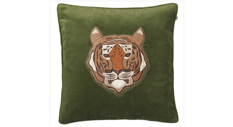 Tiger on Cactus Green Cushion Chhatwal & Jonsson