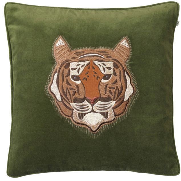 Tiger Embroidered Cushion on Cactus Green: Tiger Embroidered Cushion on Cactus Green