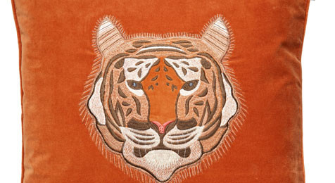 Tiger on Orange base cushion