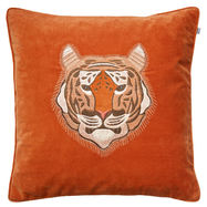 Tiger Embroidered Cushion on Orange Velvet