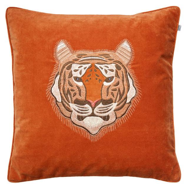 Tiger Embroidered Cushion on Orange Velvet
